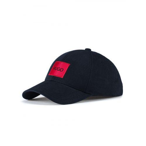 HUGO Dark Blue Cotton Twill Red Logo Cap