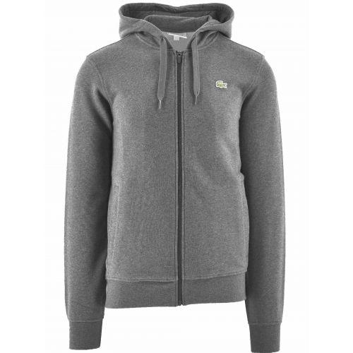 Lacoste Grey Hooded Lightweight Bi-material Sweatshirt